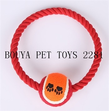 Rope toy for puppy dog with tennis ball 2281 for all pet store