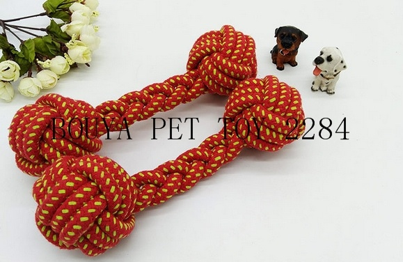 pet teeth bite cotton rope toy with a hand-held interactive dumbbell toy 2284
