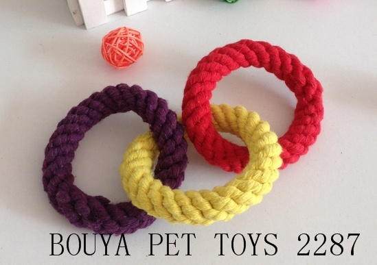 Dog toys handmade woven cotton rope toy tooth ring 2287