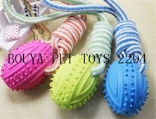 Dog supplies - Cheap dog accessories Colorful Tough dog toy Cotton Rope with TPR ball training 2294