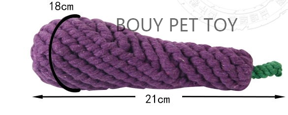 Cat and dog rope knot eggplant toy 2190