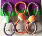 Pet toys, cotton rope toy with tennis ball 2328